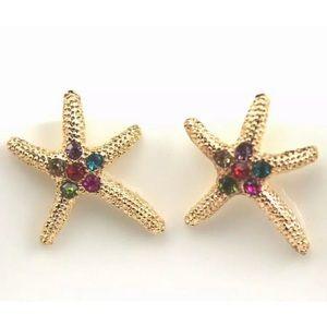 Jewelry - Gold Rhinestone Starfish Post Pierced Earrings